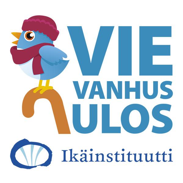 Tässä kuvassa on Vie vanhus ulos- logo