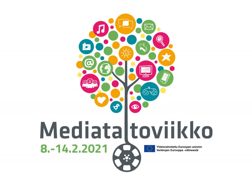 Mediataitoviikon logo. Mediataitoviikko järjestetään 8.-14.2.2021.